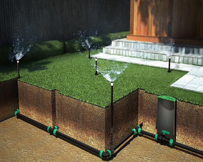 Схема установки автополива газона на участке