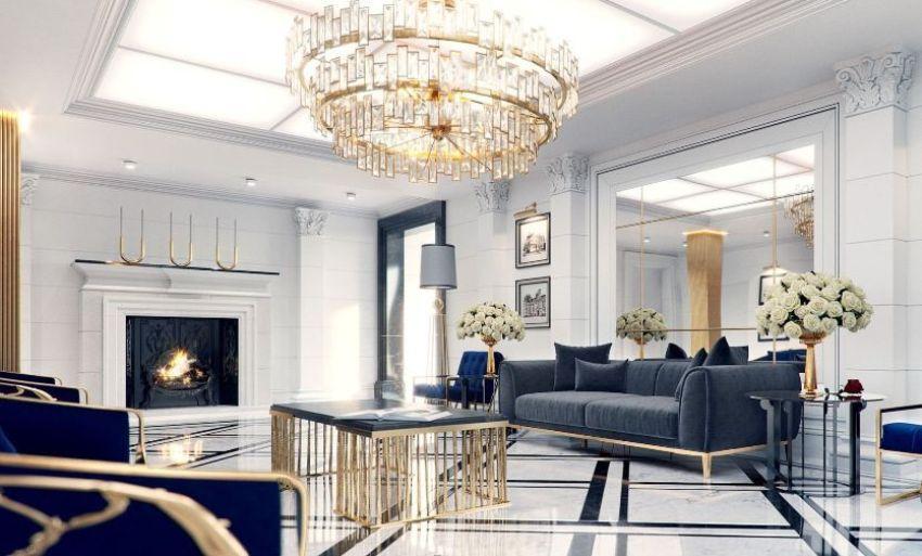 В интерьере гостиной в неоклассическом стиле соединяются античная нотка и современная отделка