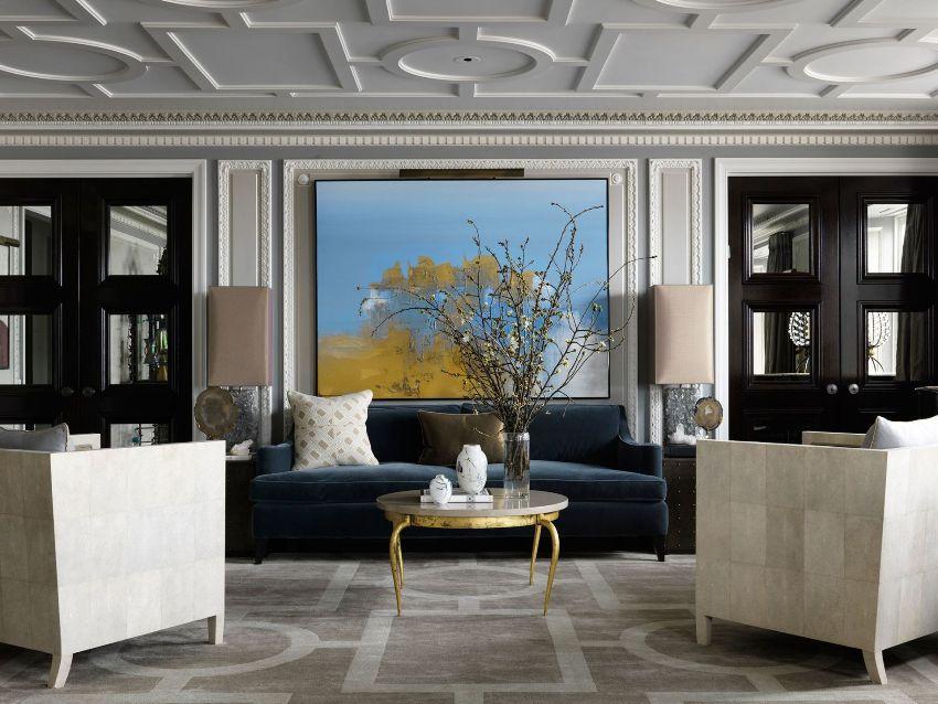 При обустройстве классической гостиной, используются нейтральные оттенки
