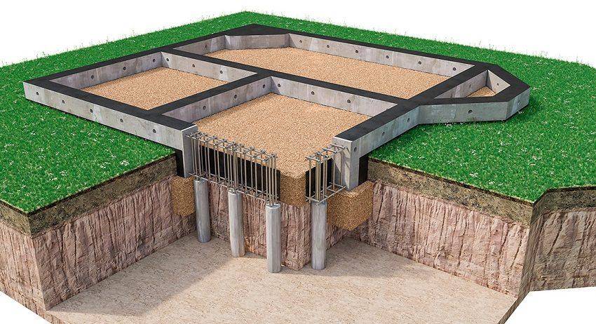 Под фундаментом располагается песчаная подушка – простой слой песка