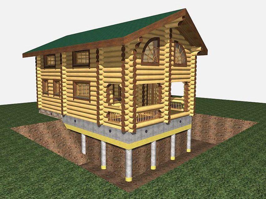Графическое изображение дома на свайном фундаменте