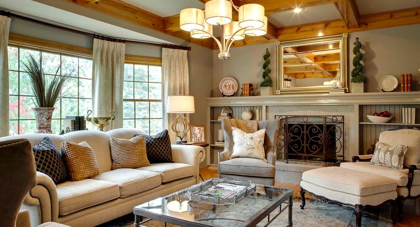 Правильно подобранная люстра способна внести в обстановку гармонию и уют, сделав дизайн гостиной завершенным