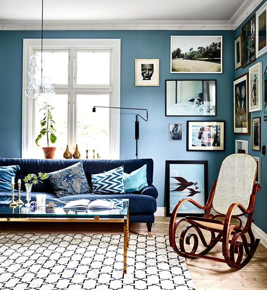 При использовании для оформления гостиной нескольких оттенков предпочтение отдается градиентным цветам