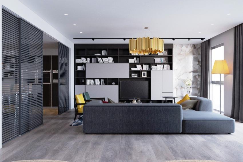 Благодаря небольшим размерам корпусной мебели комната выглядит просторной и комфортной