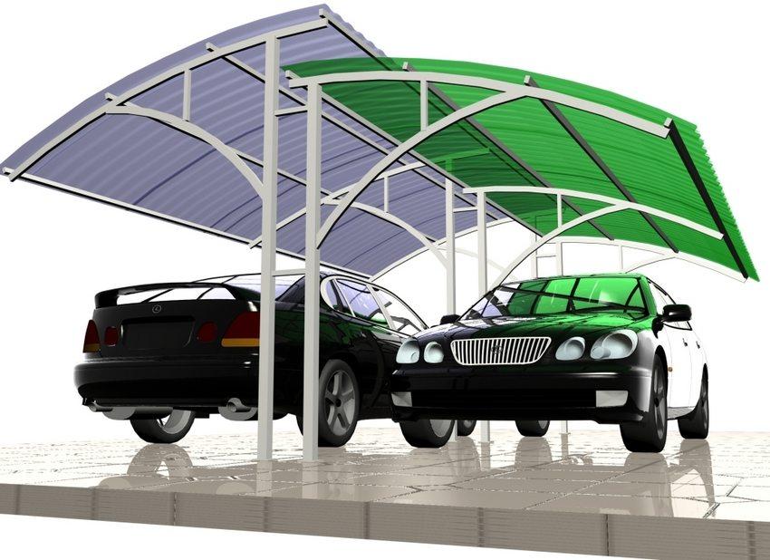 3D-проект навеса во дворе частного дома, предназначенного для двух автомобилей