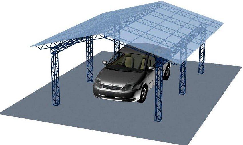 Проект навеса для автомобиля с металлическим каркасом
