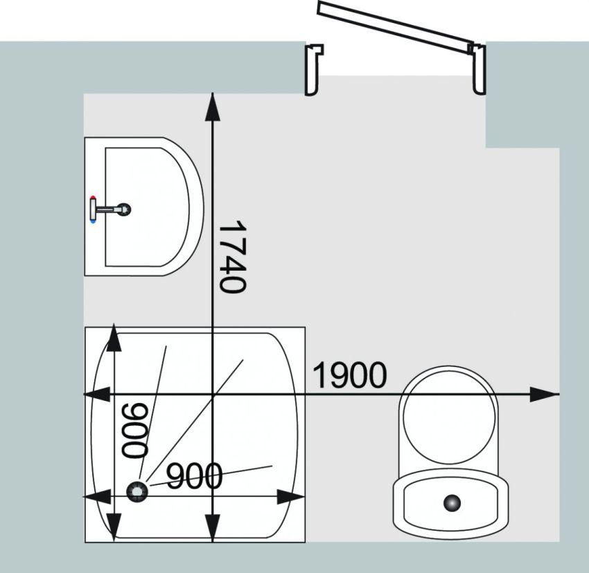 Сантехника чаще всего расставляется по периметру помещения или по противоположным сторонам