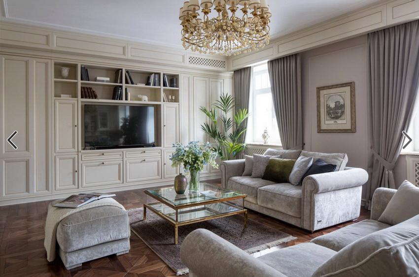 В современной стенке для гостиной должно быть предусмотрено место под телевизор