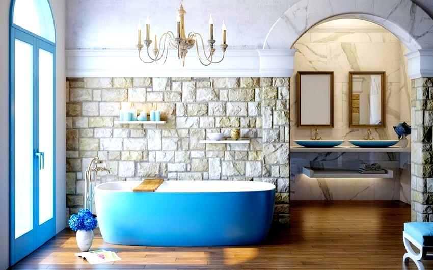 Наличие цветного комплекта сантехники предполагает простую отделку стен и пола