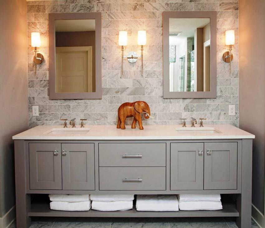 Чтобы установленная под раковиной столешница в ванной служила годами, в первую очередь, она должна быть влагоустойчивой