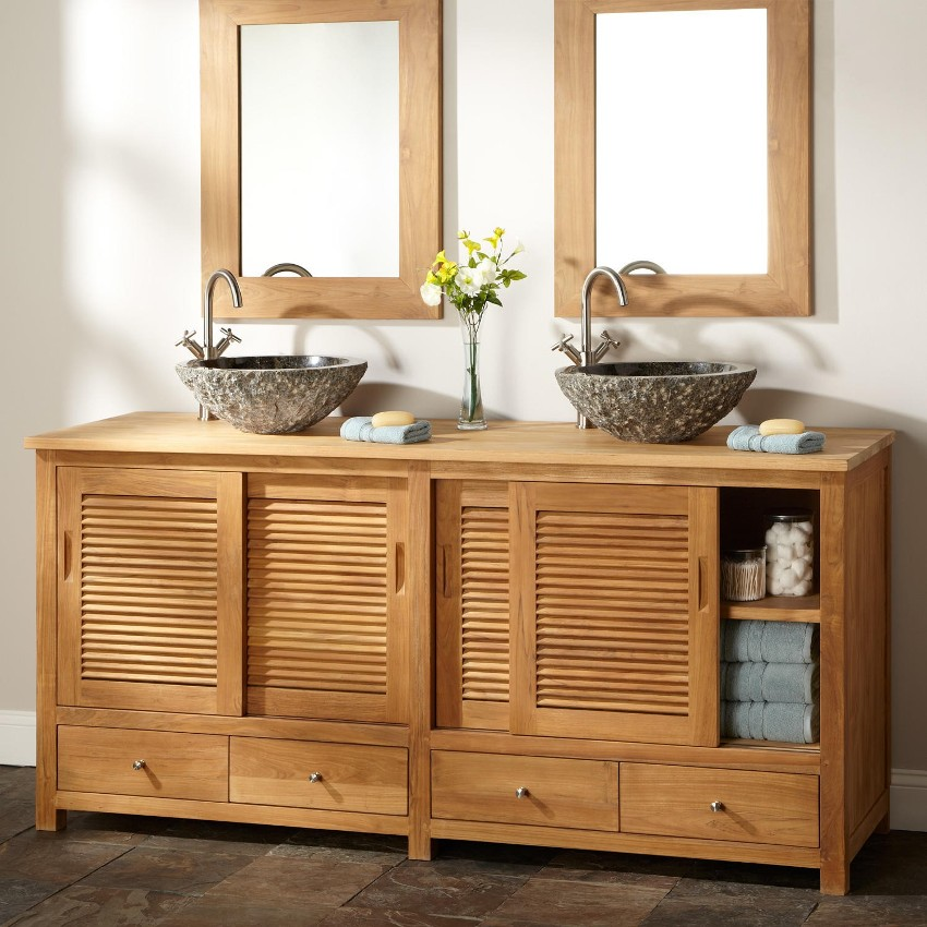 Тумбочка должна быть функциональной, оригинальной и гармонично вписываться в интерьер ванной