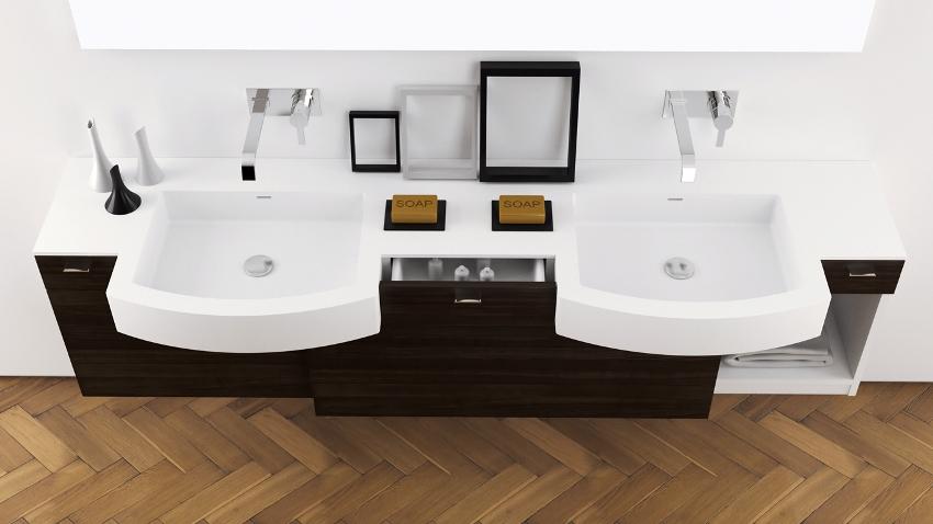 Чтобы сэкономить пространство ванной, тумбочку можно сделать навесной