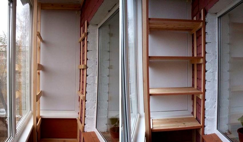 Из подготовленного деревянного бруса формируют каркас, после этого устанавливают горизонтальные перекладины и закрепляют полки