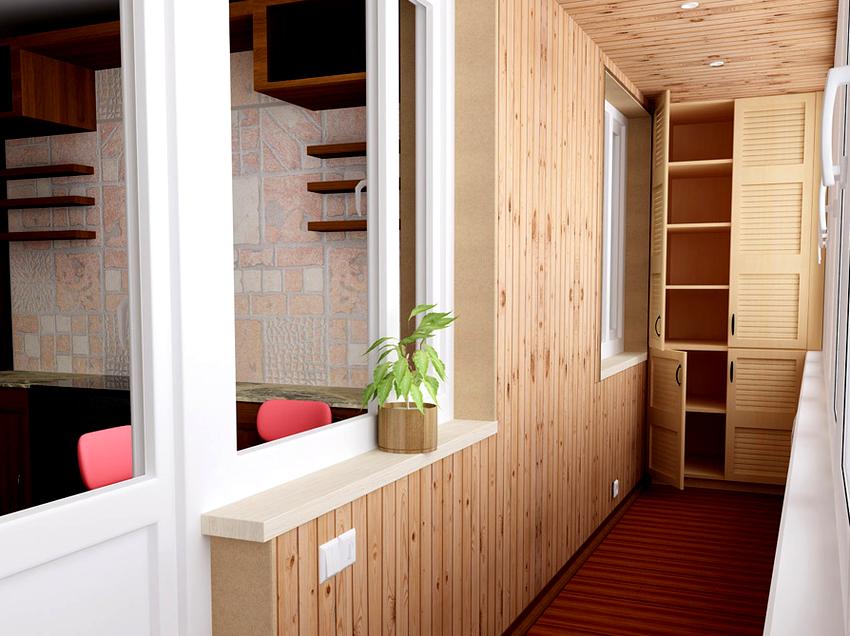 При небольшой площади балкона оптимальным будет не трех-, а двухстворчатый шкаф