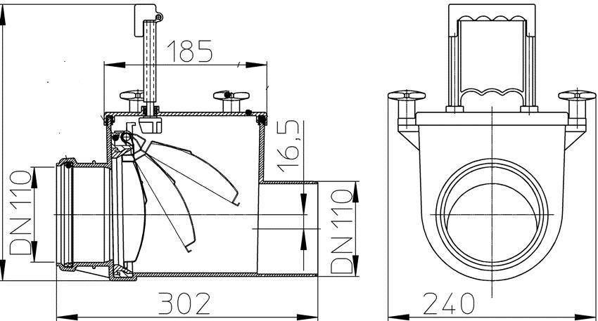 Обратный клапан можно установить в месте поворота трубопровода на 90º