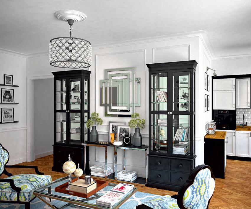 Книжный шкаф со стеклянными дверцами может быть одностворчатым, двустворчатым и со множеством дверей