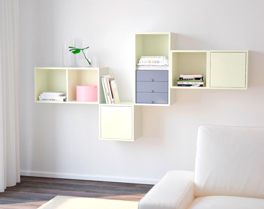 Навесной шкаф для книг может быть комбинированным, открытым и со стеклянными дверцами
