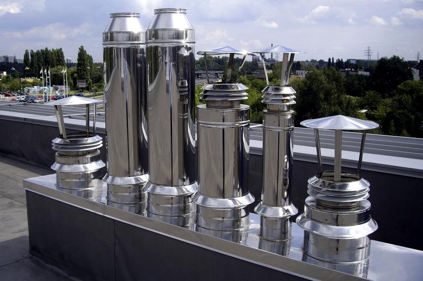 Дефлектор может быть изготовлен из алюминия, нержавеющей стали, оцинковки, меди и пластика