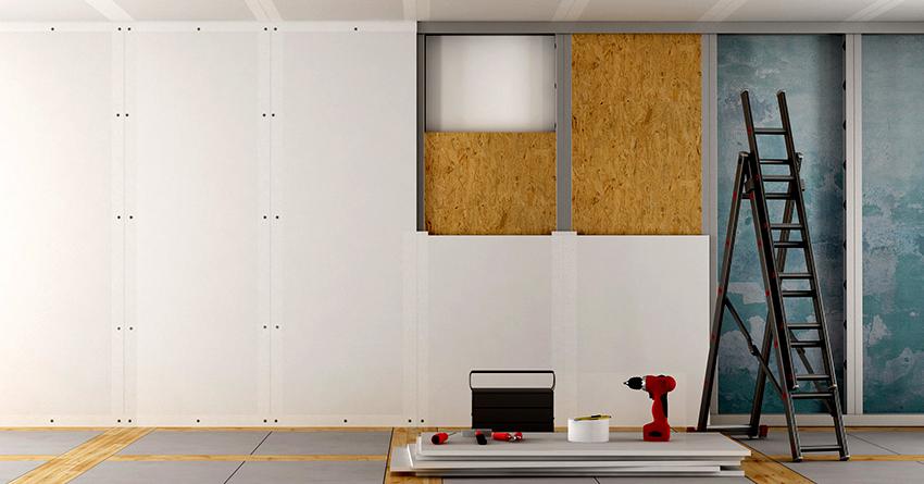 Выполнять монтаж ГВЛ на стены можно каркасным или бескаркасным способами