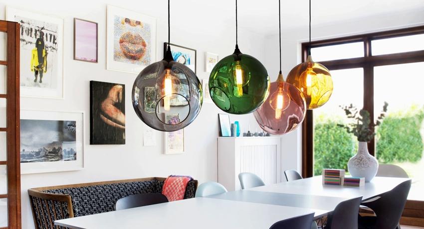 Светильники для кухни подвесные над столом: красивое визуальное зонирование