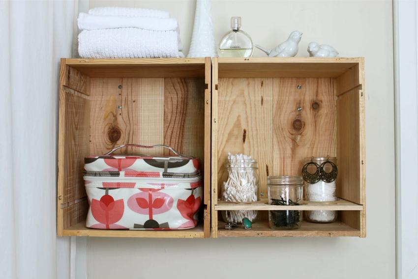 Полки-ящики в ванной комнате